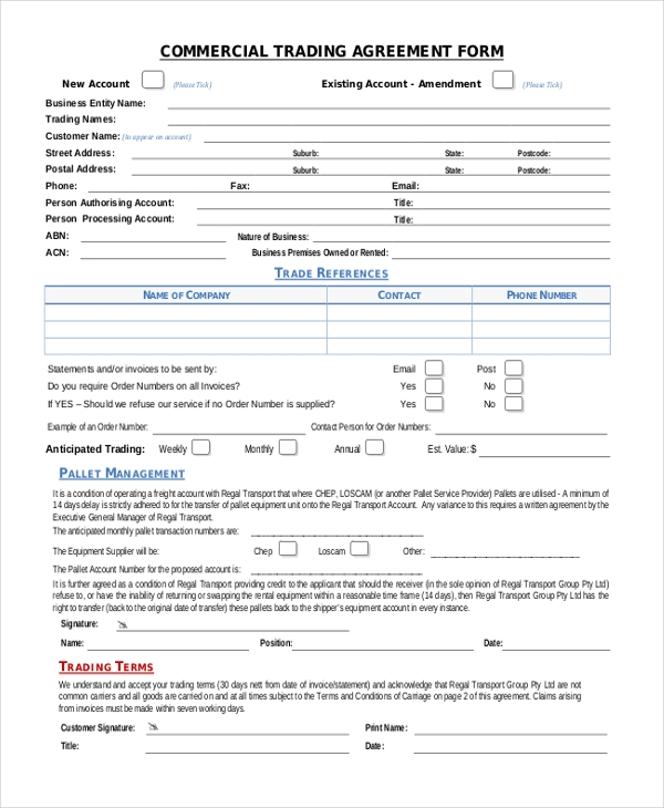 commercial trading agreement form