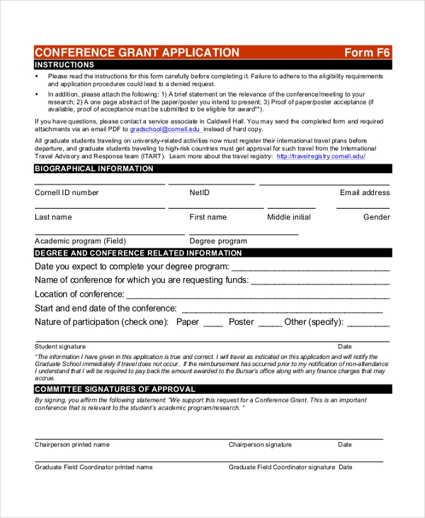 conference grant application