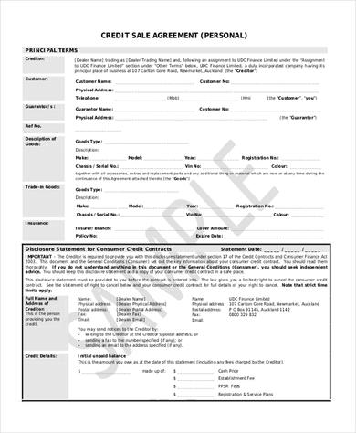 Credit Sale Agreement on Car Payment Agreement Template