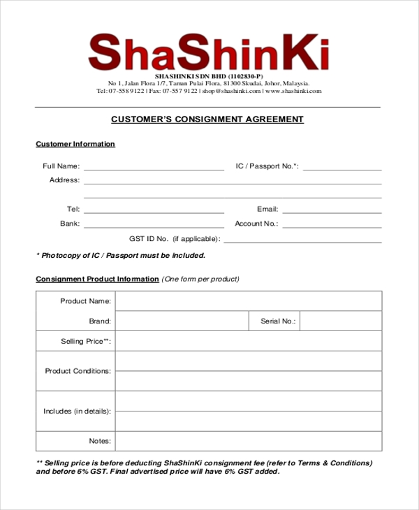 Sample Consignment Agreement Form   Free Documents In Pdf