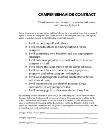 camper behavior contract