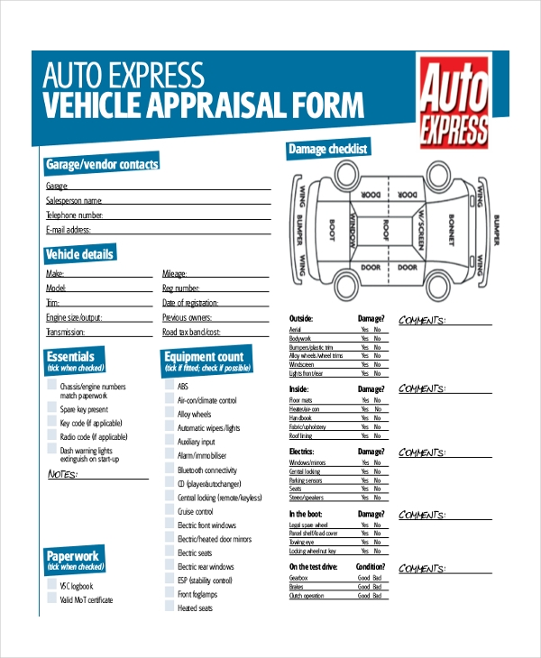 Sample Car Appraisal Form - 7+ Free Documents In Pdf