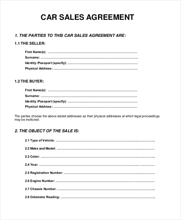 Sample Sales Agreement Form 10 Free Documents in PDF Doc – Car Sale Agreement Sample