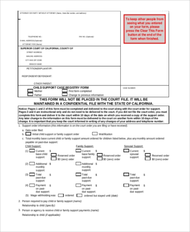 child support legal form