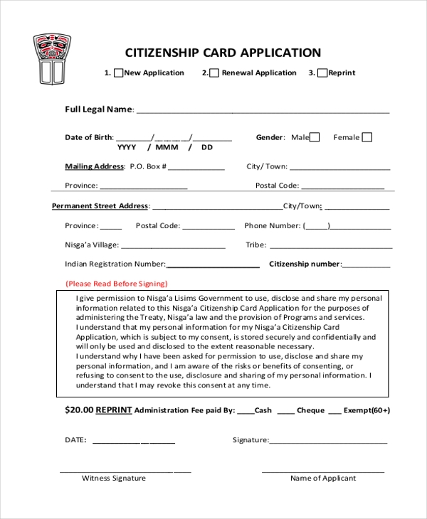 Sample Citizenship Application Forms  Free Sample Example Format