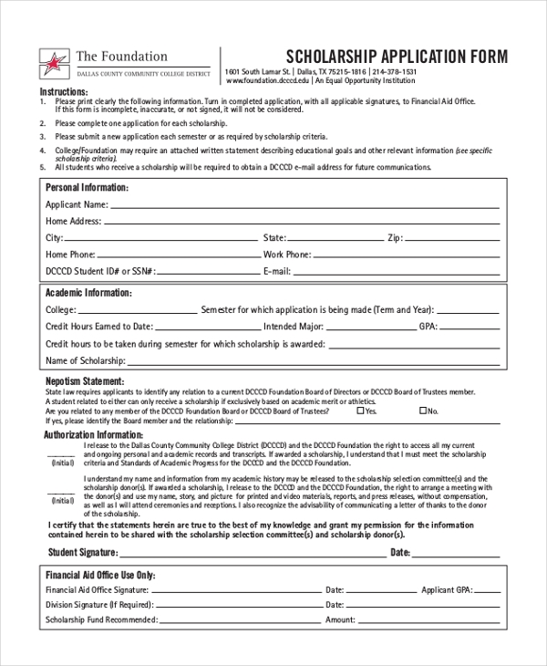 College Scholarship Application Forms  Template