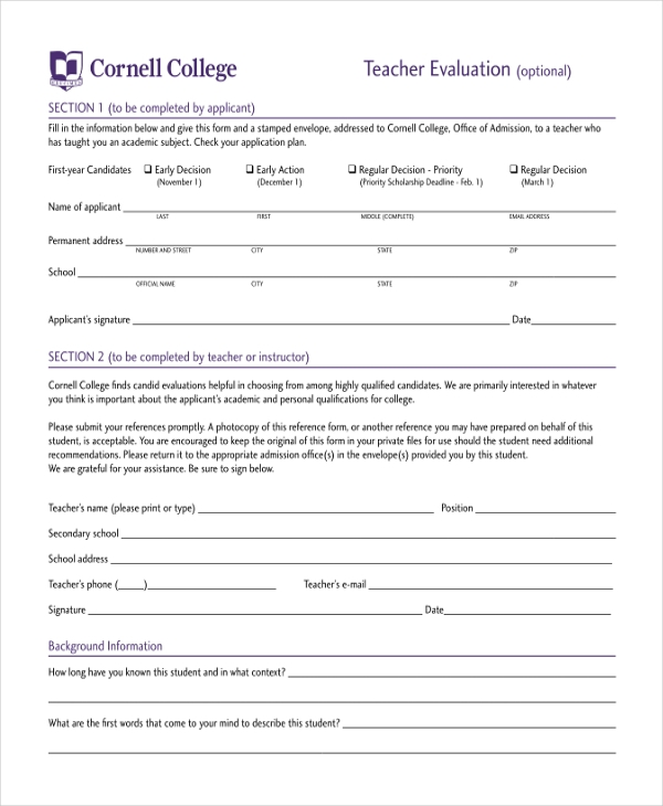 Sample Teacher Evaluation Form - 11+ Free Documents In Pdf