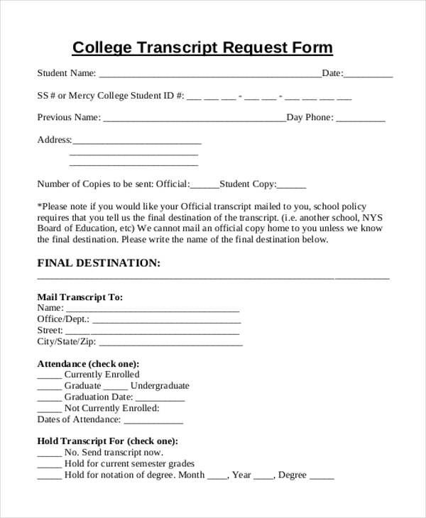 Sample transcript request forms 9 free documents in pdf sample college transcript request form spiritdancerdesigns Images