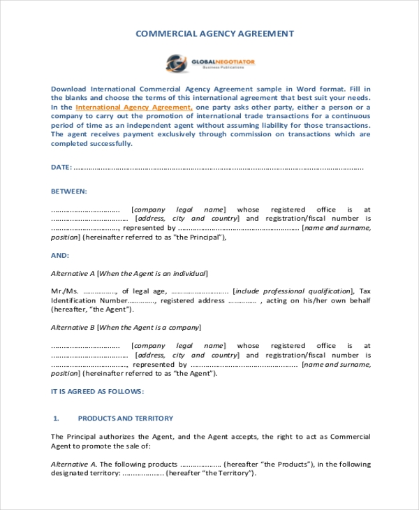 Sample Mercial Agreement Form 10 Free Documents In