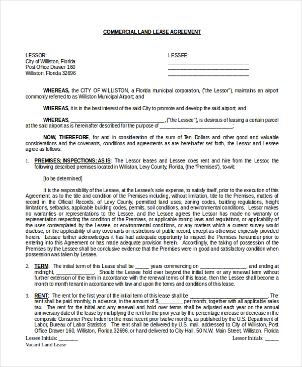 Commercial Land Lease Agreement Form
