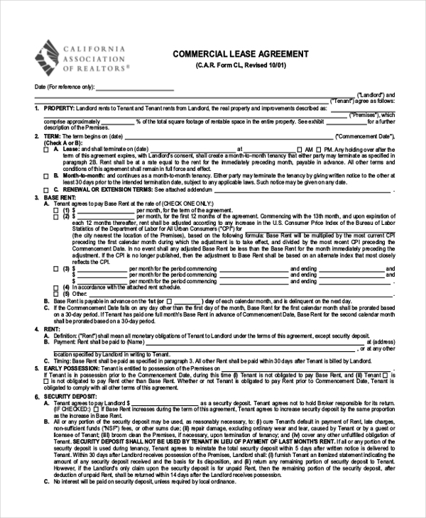 Sample Commercial Agreement Form   Free Documents In Pdf Doc