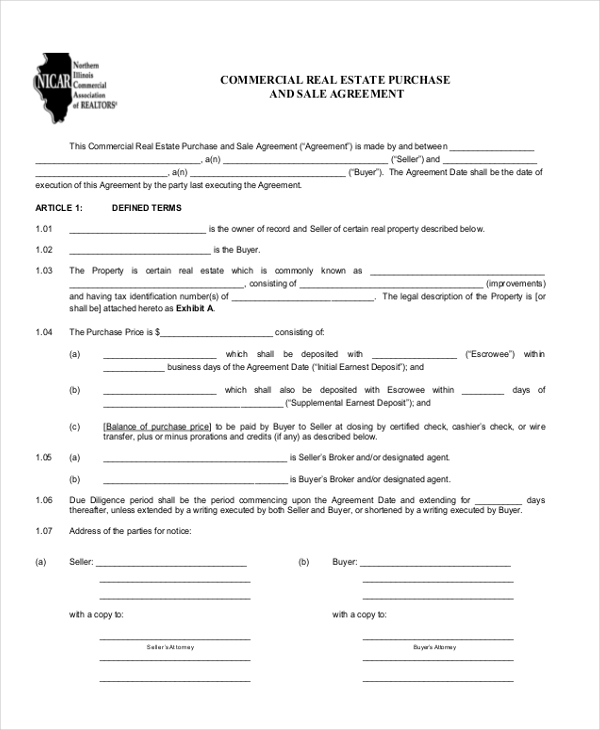 9 Sample Commercial Agreement Forms Free Sample Example Format