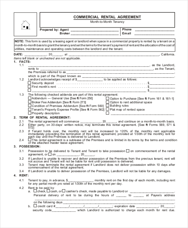9+ Sample Commercial Agreement Forms - Free Sample, Example, Format