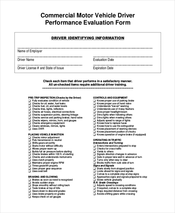 commercial vehicle appraisal form