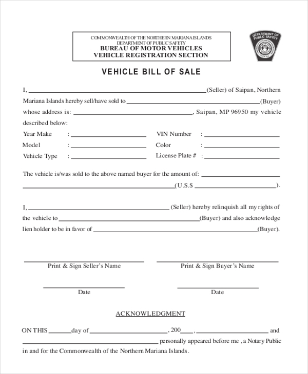 Sample Bill Of Sale Form For Vehicle - 8+ Free Documents In Doc, Pdf