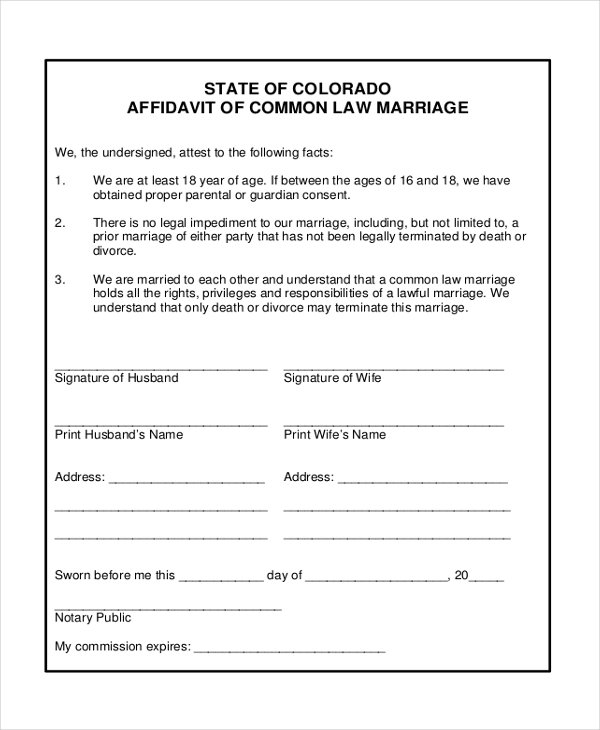 common law marriage affidavit form