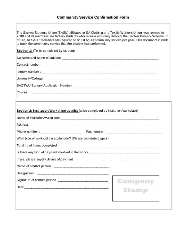 community service confirmation form