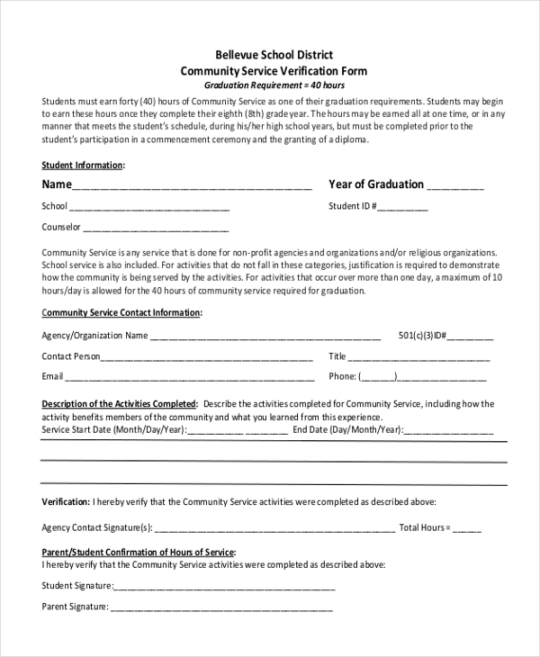 community service hours sheet for high school sample community service form 10 free documents in pdf 17461