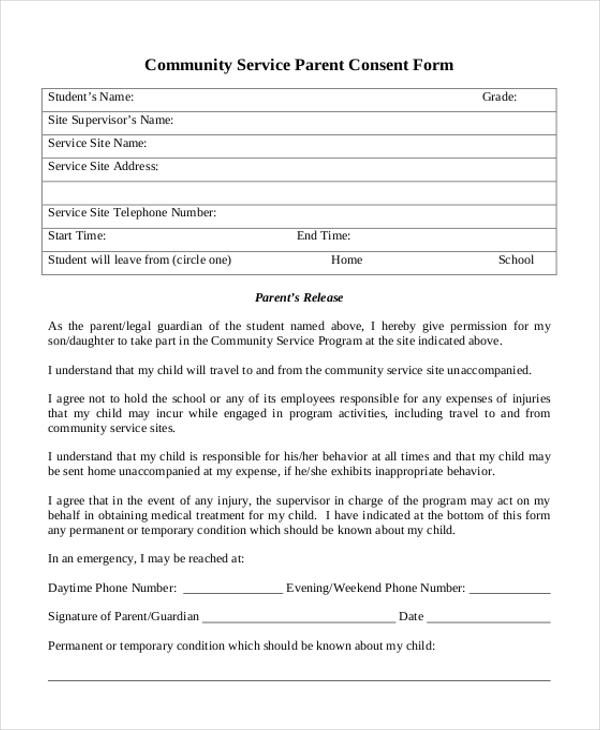 community service parent consent form