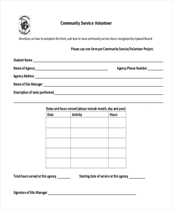 Sample Community Service Form   Free Documents In Pdf