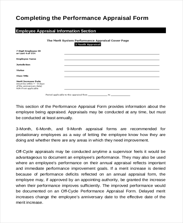 Sample Annual Appraisal Forms  Sample Example Format
