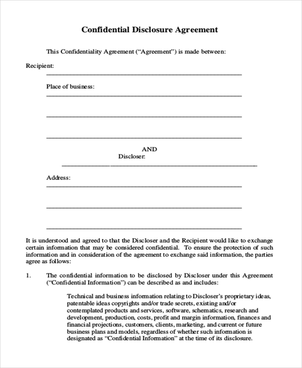 Sample confidentiality agreement form 9 free documents in doc pdf confidential disclosure agreement form accmission Images