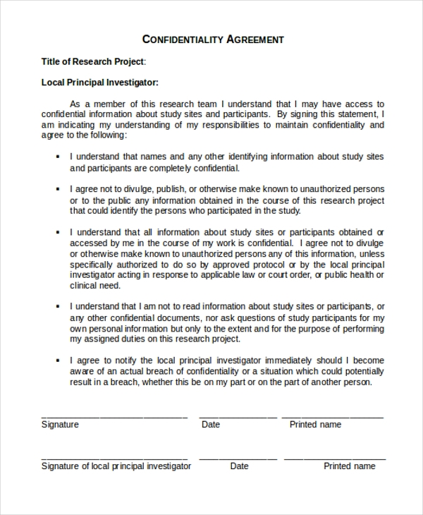 Sample Confidentiality Agreement Forms  Free Sample Example