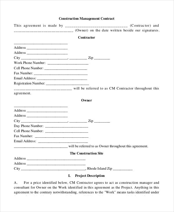 Sample Construction Contract Form - 10+ Free Documents In Pdf