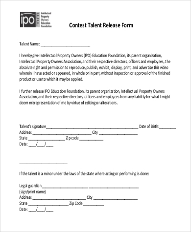 Sample Talent Release Forms   Free Documents In Doc Pdf