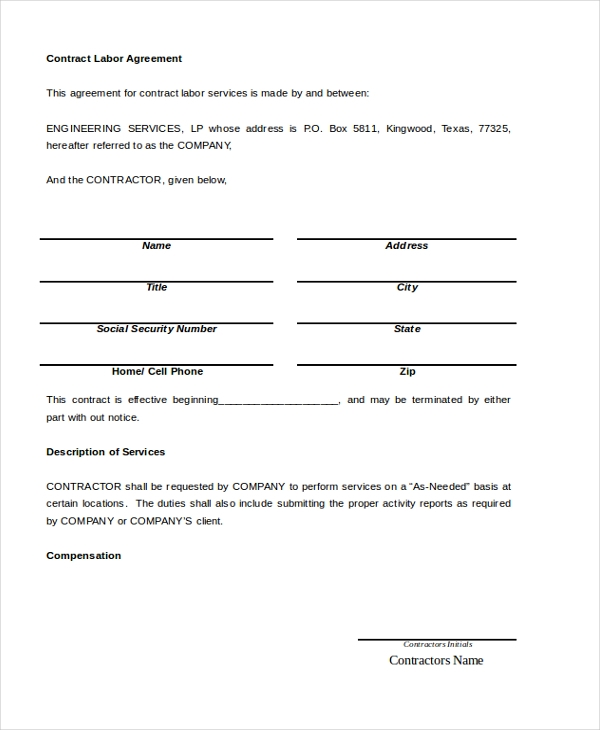 Charming Contract Labor Agreement Form
