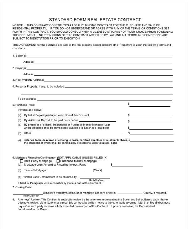 8+ Sample Contract Agreement Forms - Sample, Example, Format