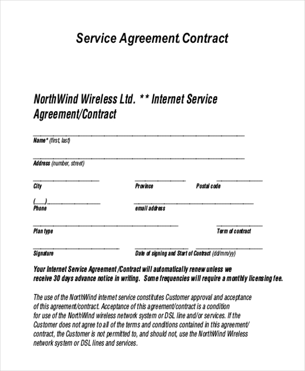 Service Agreement Contract Service Agreement Contract Form