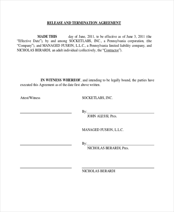 Sample Contract Agreement 8 Free Documents in PDF Doc – Contract Termination Agreement