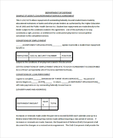 Sample Loan Contract Form   Free Documents In Pdf