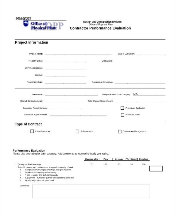 Sample Evaluation Form   Free Documents In Pdf
