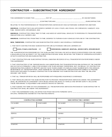 Sample Subcontractor Agreement Form 10 Free Documents In