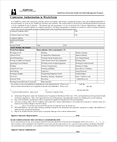 contractor work authorization form1