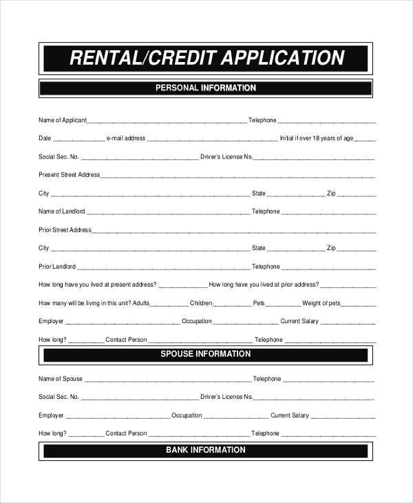 Sample Apartment Rental Application Form   Free Documents In