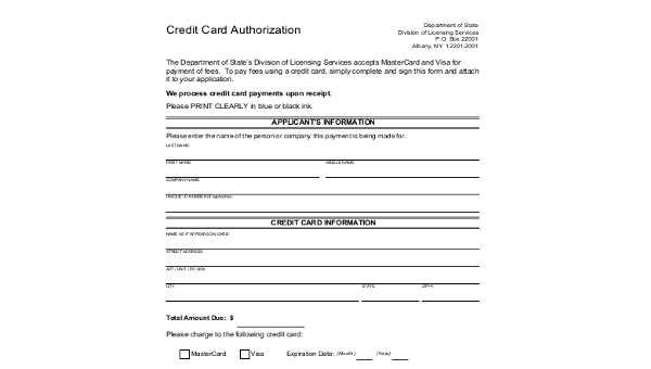 Free 10 Sample Credit Card Authorization Forms In Ms Word Pdf Excel