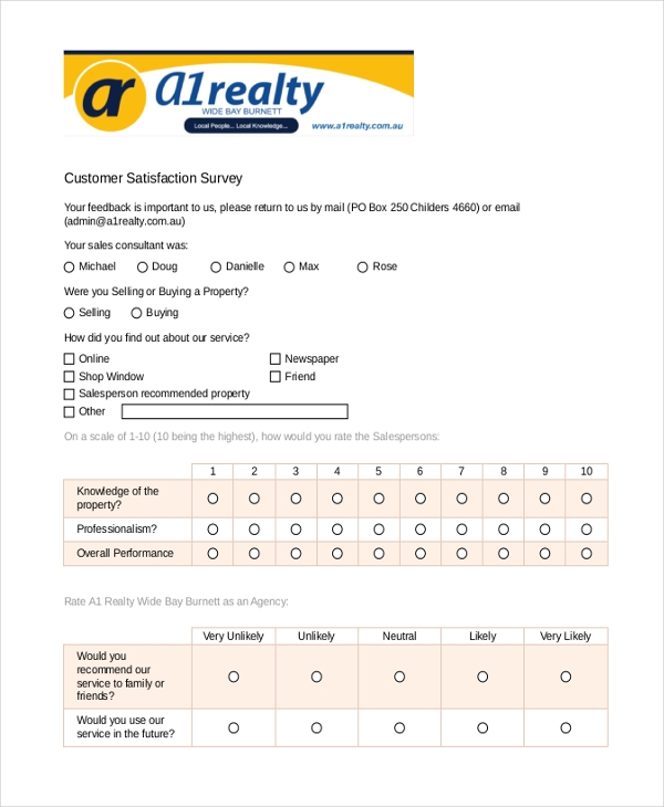 High Quality Customer Satisfaction Survey Examples