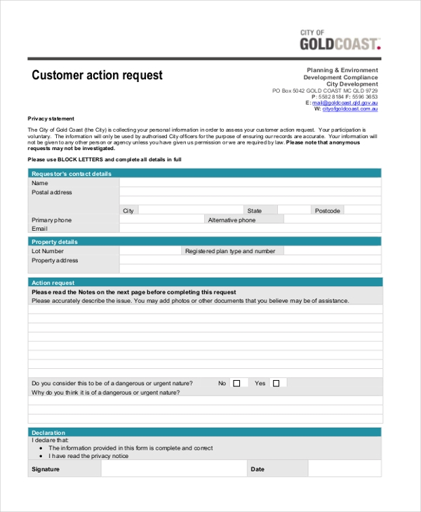customer action request
