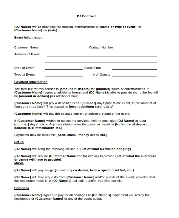 dj residency contract