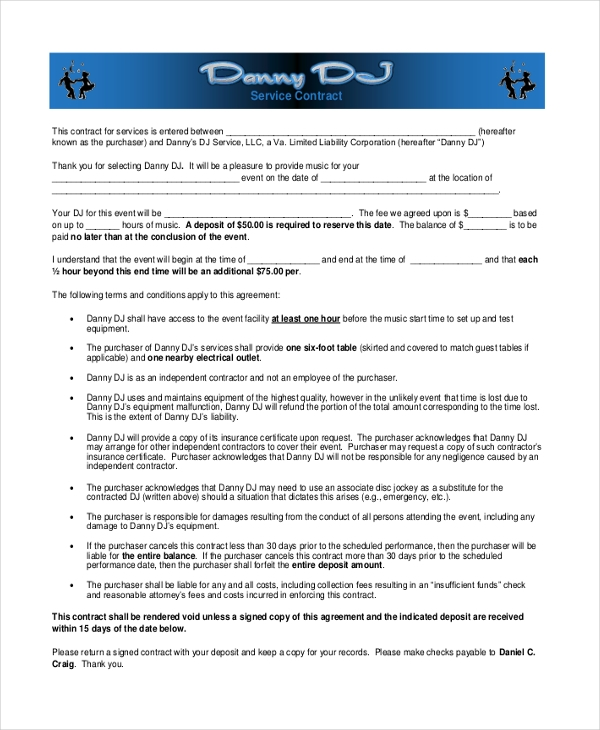 Sample Dj Contract Form   Free Documents In Pdf Doc