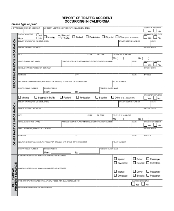 Sample Dmv Accident Report Form - Free Documents In Pdf