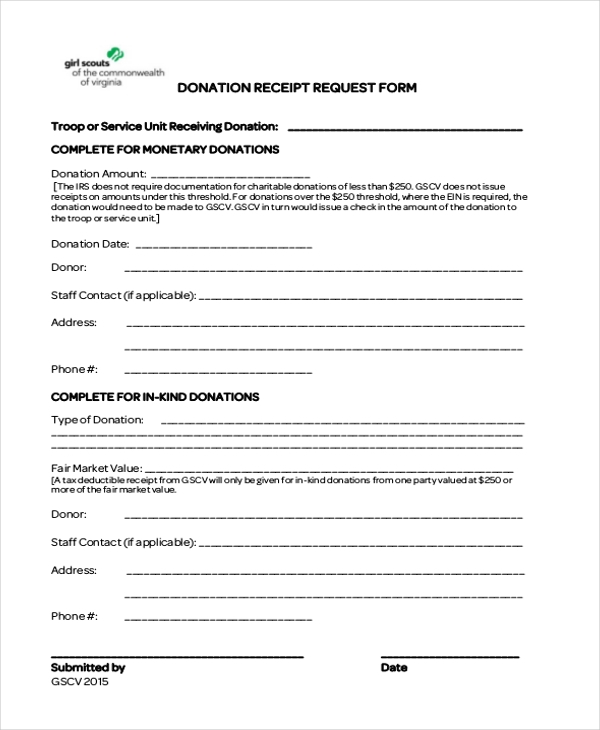 Sample Donation Receipt Form   Free Documents In Pdf
