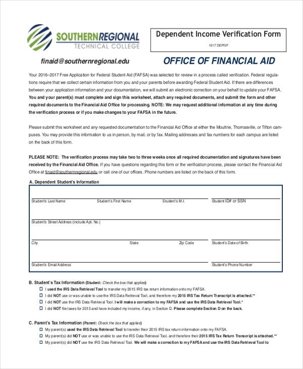 Dependent Income Verification Form