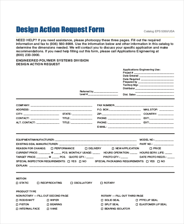 design action request form
