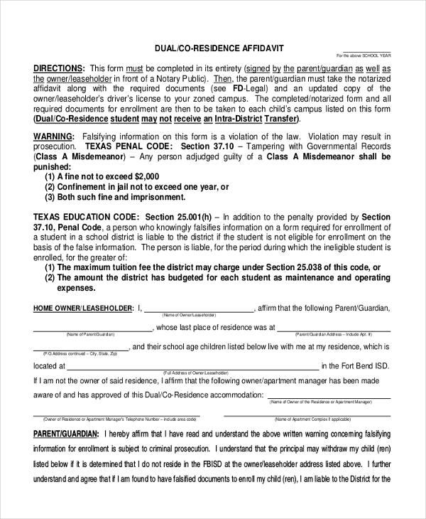 dual residency affidavit