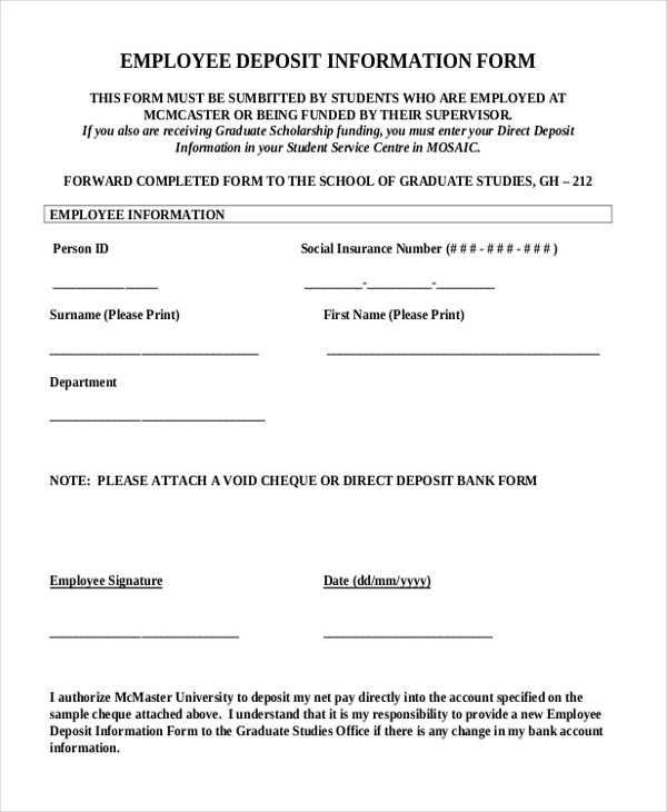 employee deposit information form