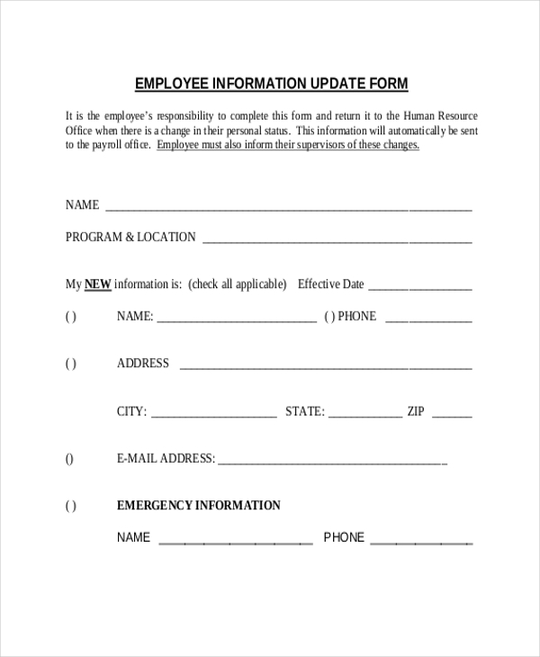 Sample employee information form 10 free documents in for Update contact information form template